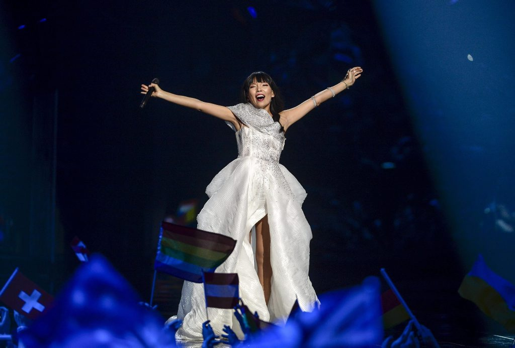 Dami Im representing Australia performs with the song 'Sound of Silence' during the Grand Final of the 61st annual Eurovision Song Contest (ESC) at the Ericsson Globe Arena in Stockholm, Sweden.