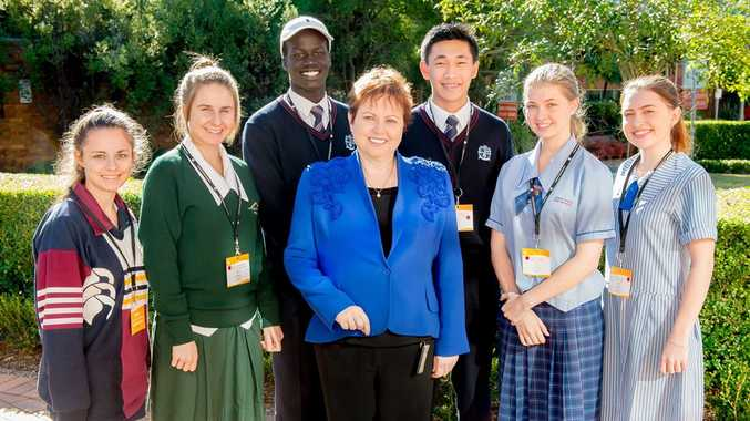 USQ Vice-Chancellor and President Professor Jan Thomas with high-school students attending the USQ Student Experience Day (from left) Tiana Collins, Sophie Leerentveld, Deng Arok, Israel Escano, Hayley Weise and Georgia Dalziell.