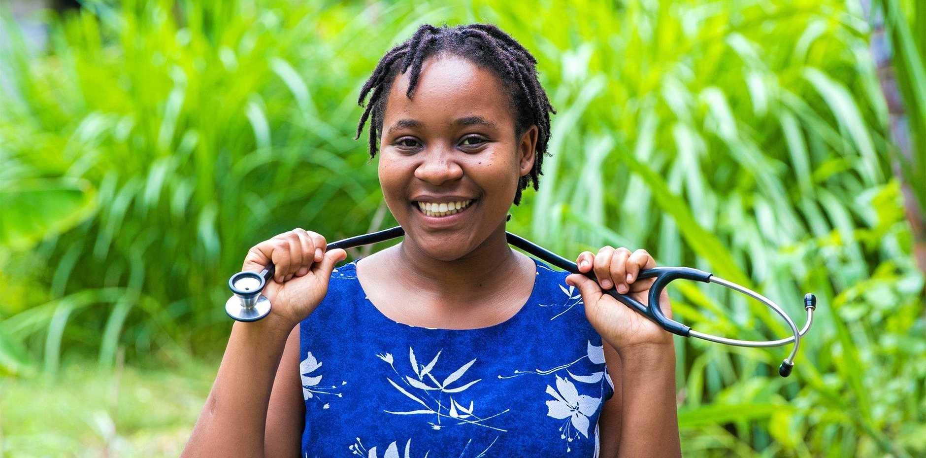 School of St Jude graduate Dorice Livingstone has been given Dr June Canavan's stethoscope.