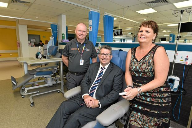 NEW FACILITY: Ray Johnson (operations director), Keith Pitt  and former cancer patient Sally Mackay .