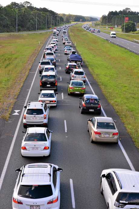 TRAFFIC WOES: Cars on the Bruce Hwy come to a standstill.
