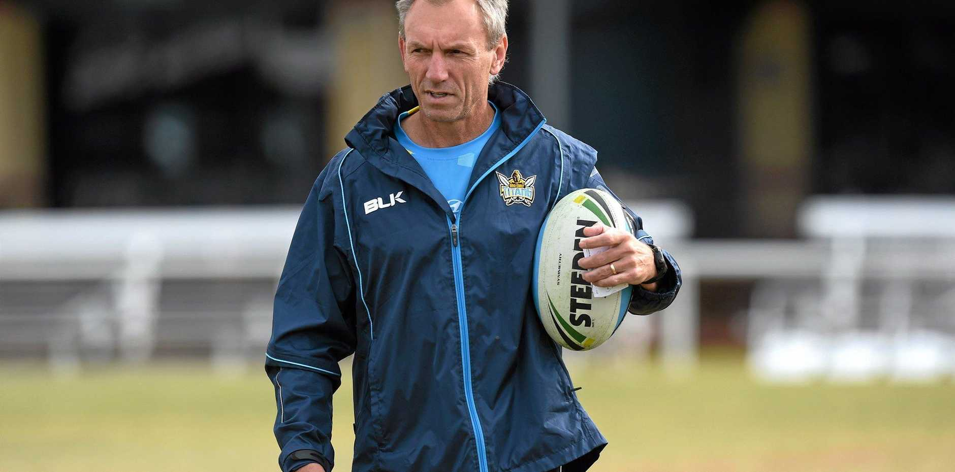 Coach Neil Henry looks on during the Gold Coast Titans training session. Photo: AAP Image/Dave Hunt.