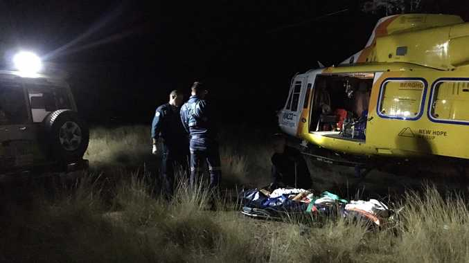 Three people were involved in a four wheel drive crash near Rosewood. Photo: Courtesy RACQ CareFlight Rescue
