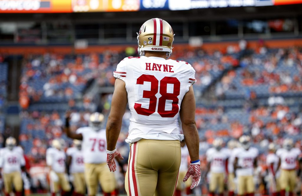 San Francisco 49ers running back Jarryd Hayne (38) warms up during an NFL preseason game against the Denver Broncos on Saturday, Aug. 29, 2015, in Denver, Co. The Broncos won the game, 19-12. (Greg Trott via AP)