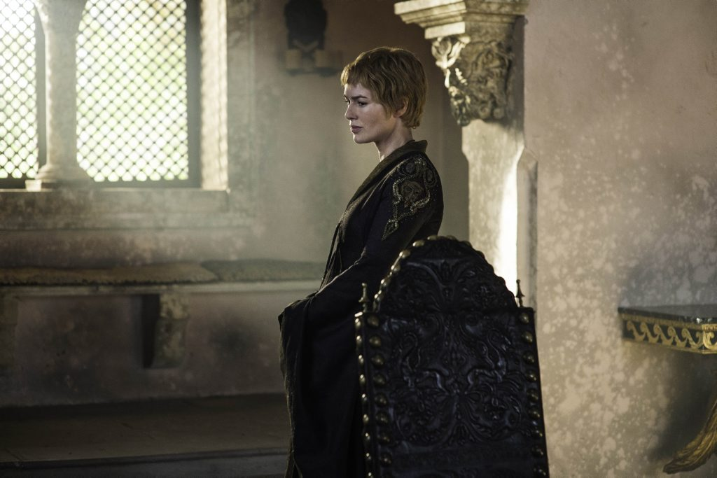Lena Headey in a scene from season six episode four of Game of Thrones.