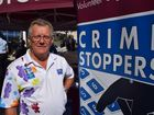 Sunshine Coast Crime Stoppers chairman Greg Beale volunteers at a stand in Sunshine Plaza on National Crime Stoppers Day.