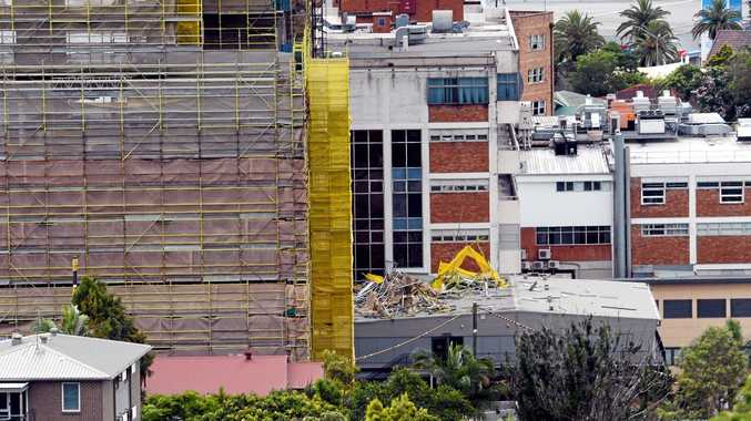 ACCIDENT SITE: Scaffolding fell at the Lismore Base Hospital onto the maternity unit.
