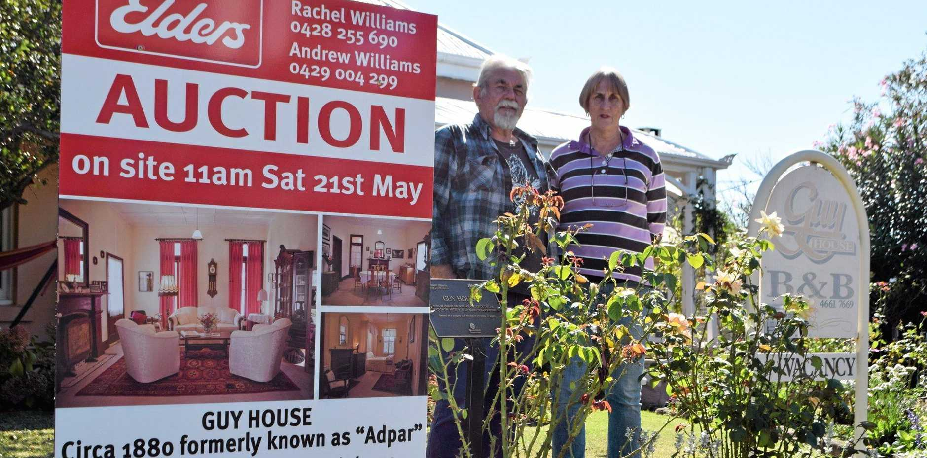 Guy House B&B; owners Larraine and John Nohlmans are selling up, with the 136-year-old home to go under the hammer next weekend.