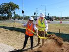BREAKING BOUNDARIES: Wyatt Roy and Luke Howarth turn the sod on the new overpass construction site.