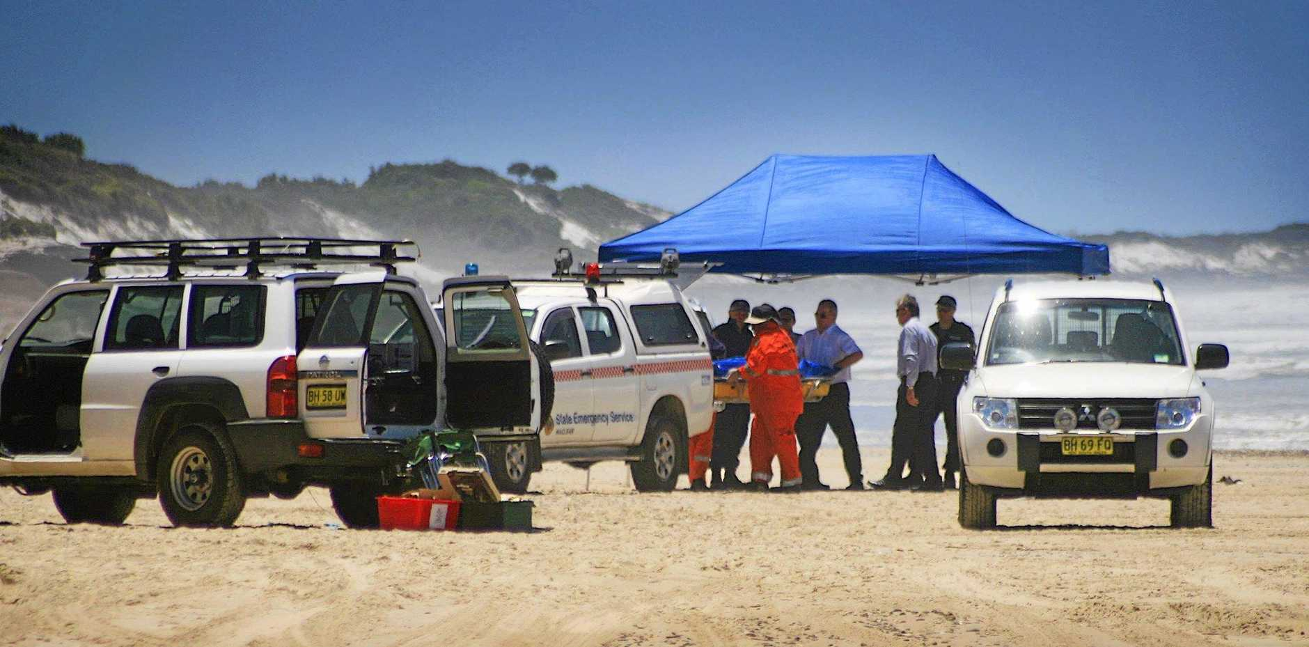 SAD SCENE: Lynette Daley's body was found on January 27, 2011, at Ten Mile Beach north of Iluka, where SES volunteers helped police to recover her body.