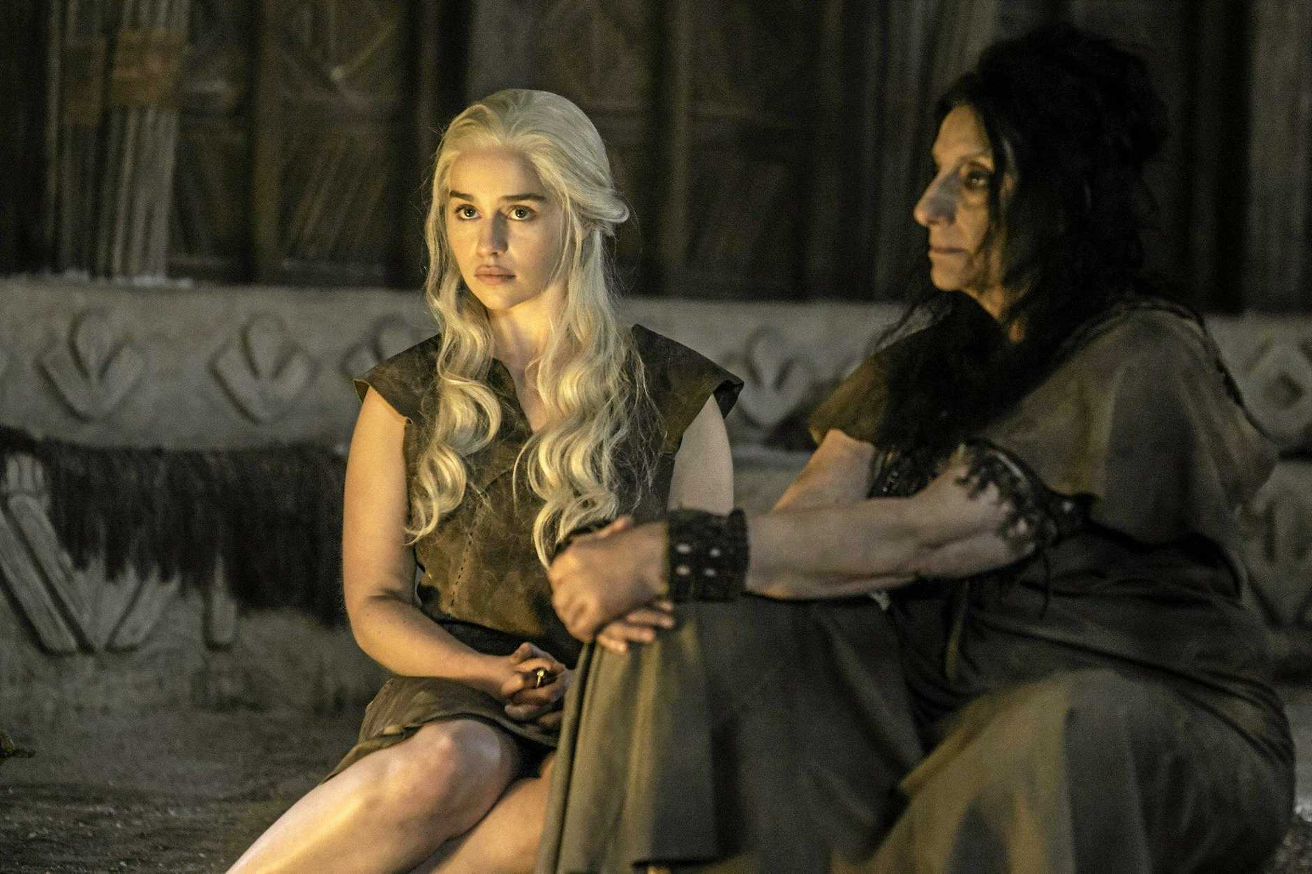 Emilia Clarke and Souad Faress in a scene from season six episode four of Game of Thrones.
