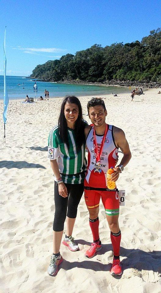 Juan Battista Arroyo of Spain with his wife after winning today's run leg of Ultraman Australia.