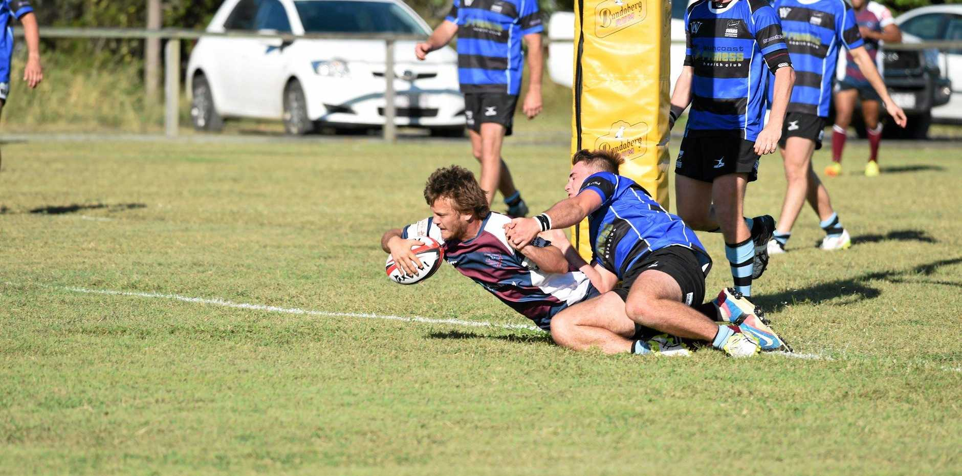 THE MOMENT: Mariners' Cameron Mead scores the match-sealing try in the Fraser Coast Mariners 24-5 win over Maroochydore.