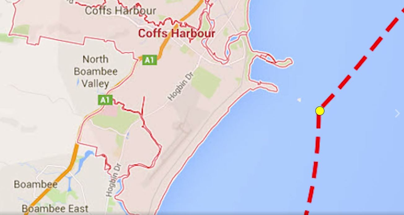 The International Transport Workers Union has reported the Greek owned cargo container ship SNL Colombo passed within metres of Pig Island off Coffs Harbour, after it was tracked 24km off course on April 14.