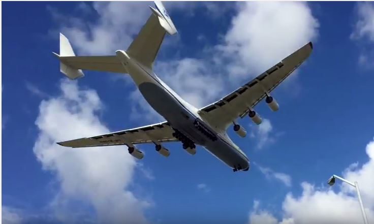 The Antonov An-225 Mriya flies over Perth before landing on Sunday.