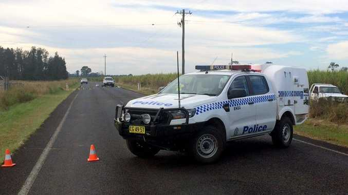 The scene of a motorcycle crash on the Casino to Coraki Road just outside of Tatham.