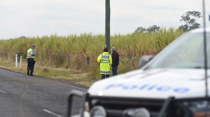 Police attend the scene where a motorcyclist was involved in a fatal accident on the Casino Coraki Road near Tatham after hitting a cow at 12.20am. Photo Marc Stapelberg / The Northern Star