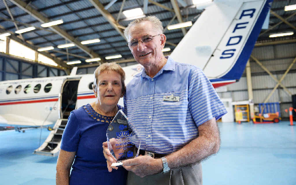 HERO COUPLE: Don and Dell Limpus couldn't wipe the smiles off their faces after being awarded the RFDS Local Hero Award.