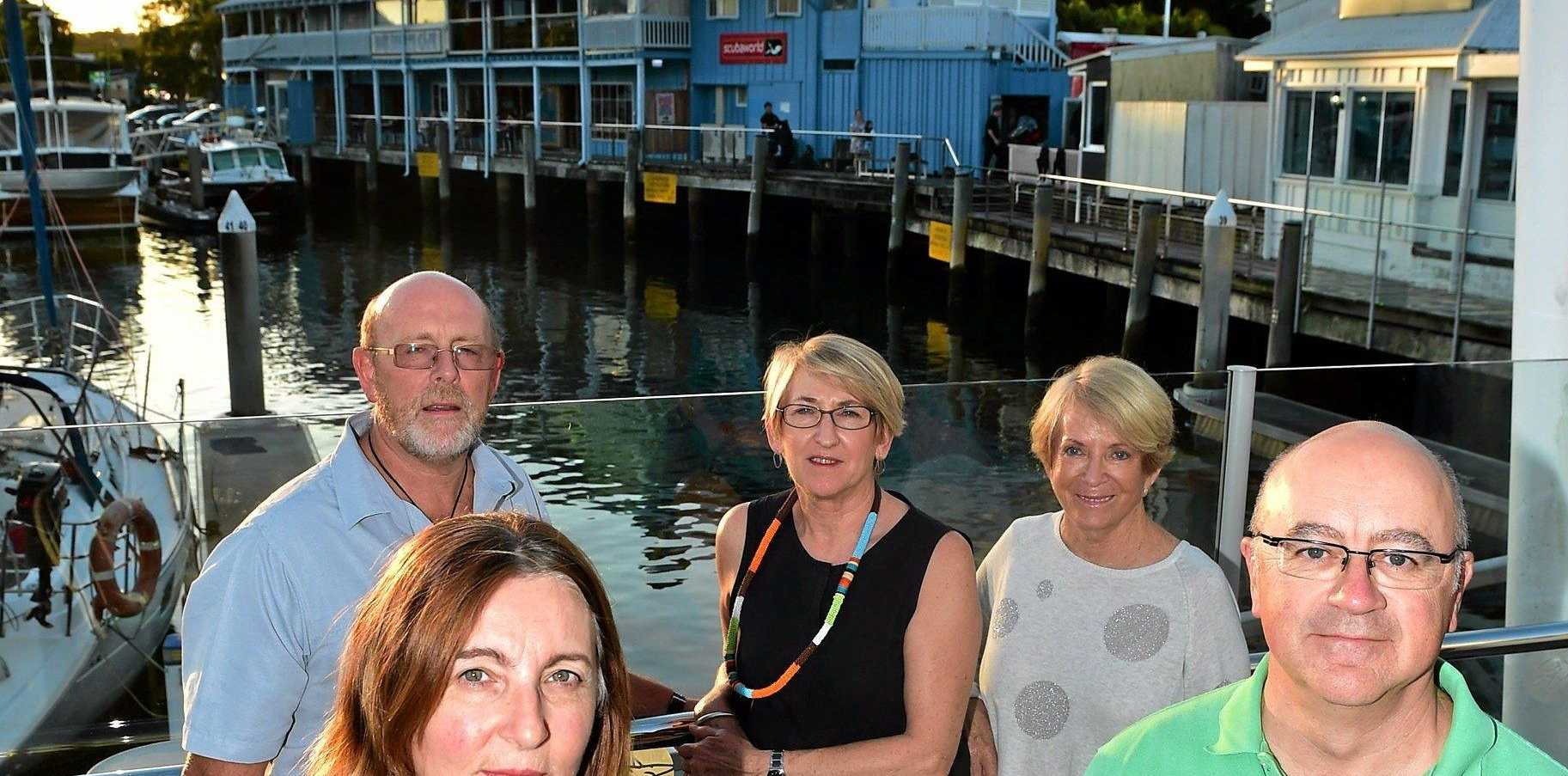 Spit Protection Association members share their views on the Wharf development. Charlie Silcock, Anna Neep, Judy Mewing, Joclyn Walker and Martin Neep.