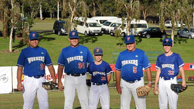 Micka, Scott, Cain, Bob and Seth McClelland took to the field together for Workers in FNC Baseball at the weekend.