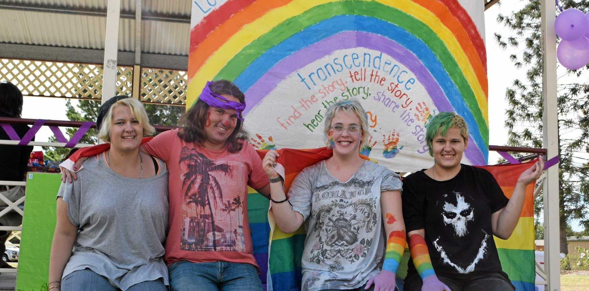 MESSAGE OF LOVE: Isabelle-Rose Hillhouse, Jody Marie, Alec Ryan and Hunter Hillhouse embrace International Day Against Homophobia and Transphobia celebrations in Warwick.