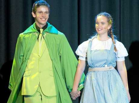 Wizard Elliott Chalmers as the Wizard and Sophie Brereton as Dorothy on stage during rehearsal for the Centenary Heights State High School musical The Wiz, Tuesday, May 17, 2016.