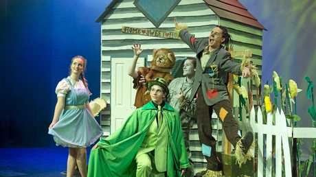 Ready for the show are (from left) Sophie Brereton as Dorothy, Elliott Chalmers as the Wizard, Rhys Keane as Lion, Asher Wighton as Tinman and Gabriel Wighton as Scarecrow in the Centenary Heights State High School musical The Wiz, Tuesday, May 17, 2016.