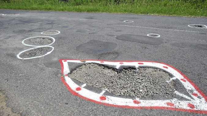 Bad potholes on Dunoon Road at Tullera.
