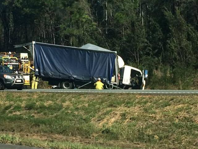 A semi-trailer and another smaller truck have crashed. Photo: Jake Gash