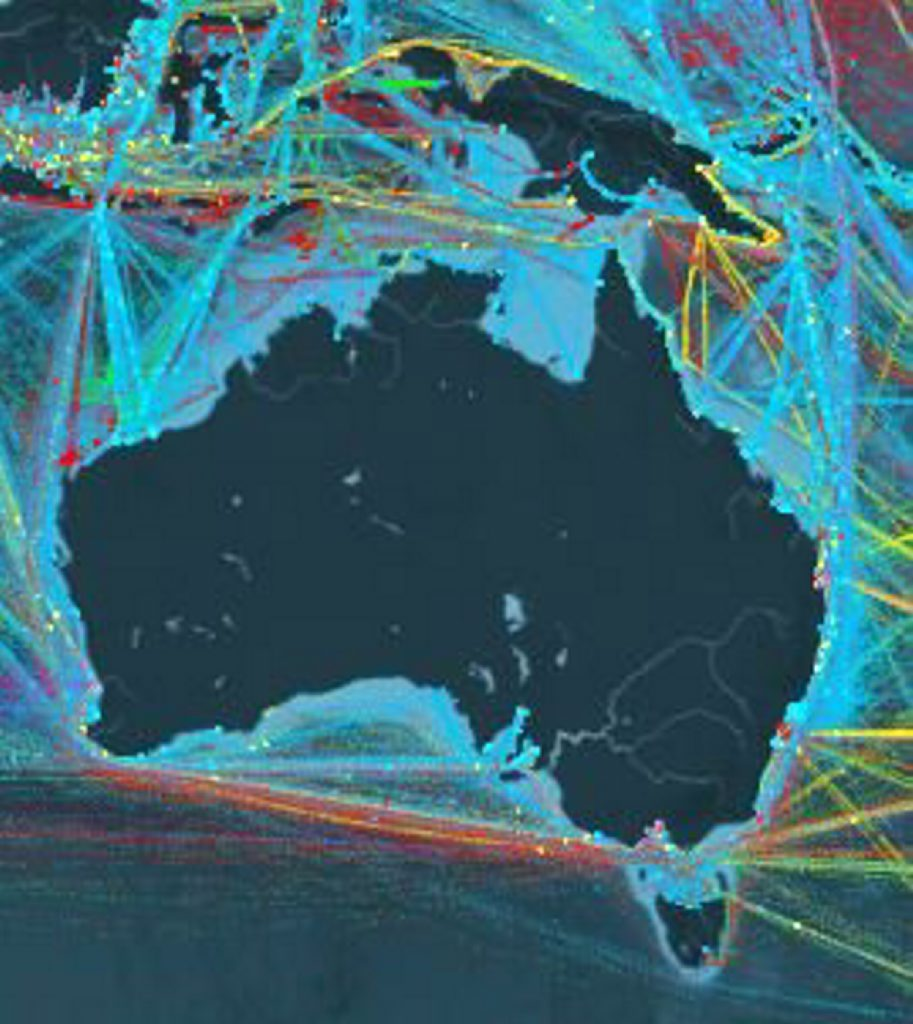 EXPORT NATION: Shipping routes used between Australia and the rest of the world. Contributed: Created by digital journalism studio Kiln and University College London's Energy Institute.