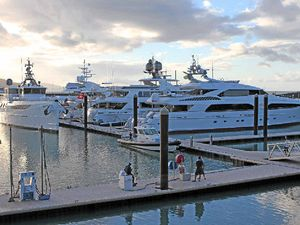 Superyachts arriving in Abell Point Marina