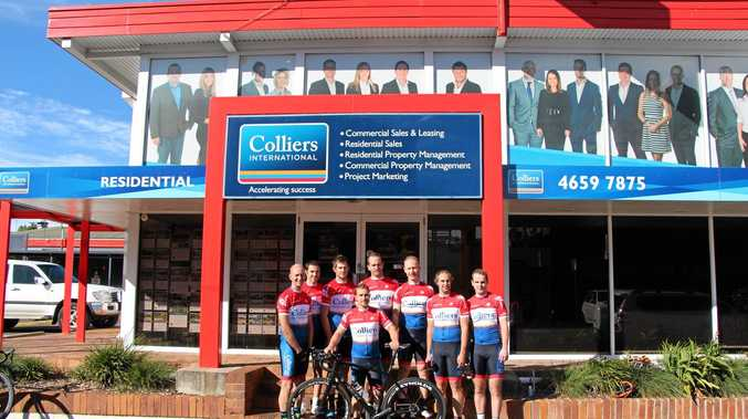 READY TO RACE: The Toowoomba-based Colliers Racing team of (from left) Matthew Locker, Richard MacAvoy, Louis Pijpers, Trent West, Michael Curley, Michael Illing, Matthew Sander and (front) Pete Collins will contest the Queensland Road Team Series.