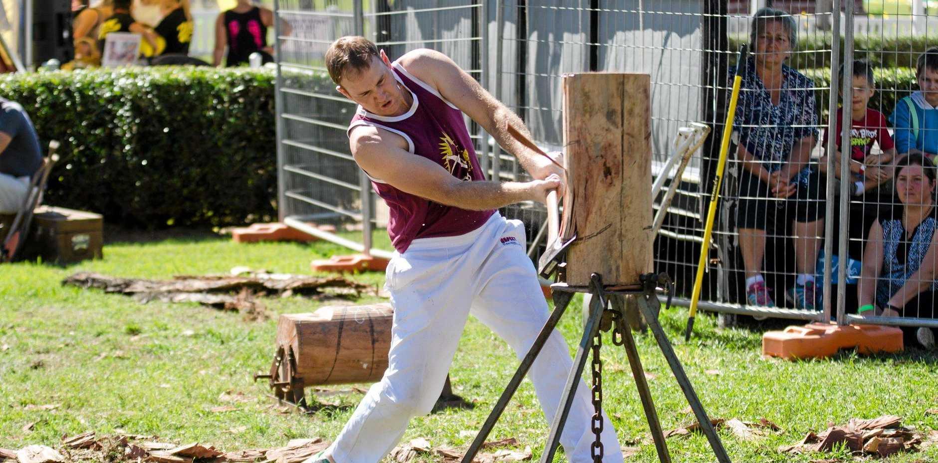 CHOP CHOP: Blake Draper cuts loose at the 2016 Gympie Show wood chop events.