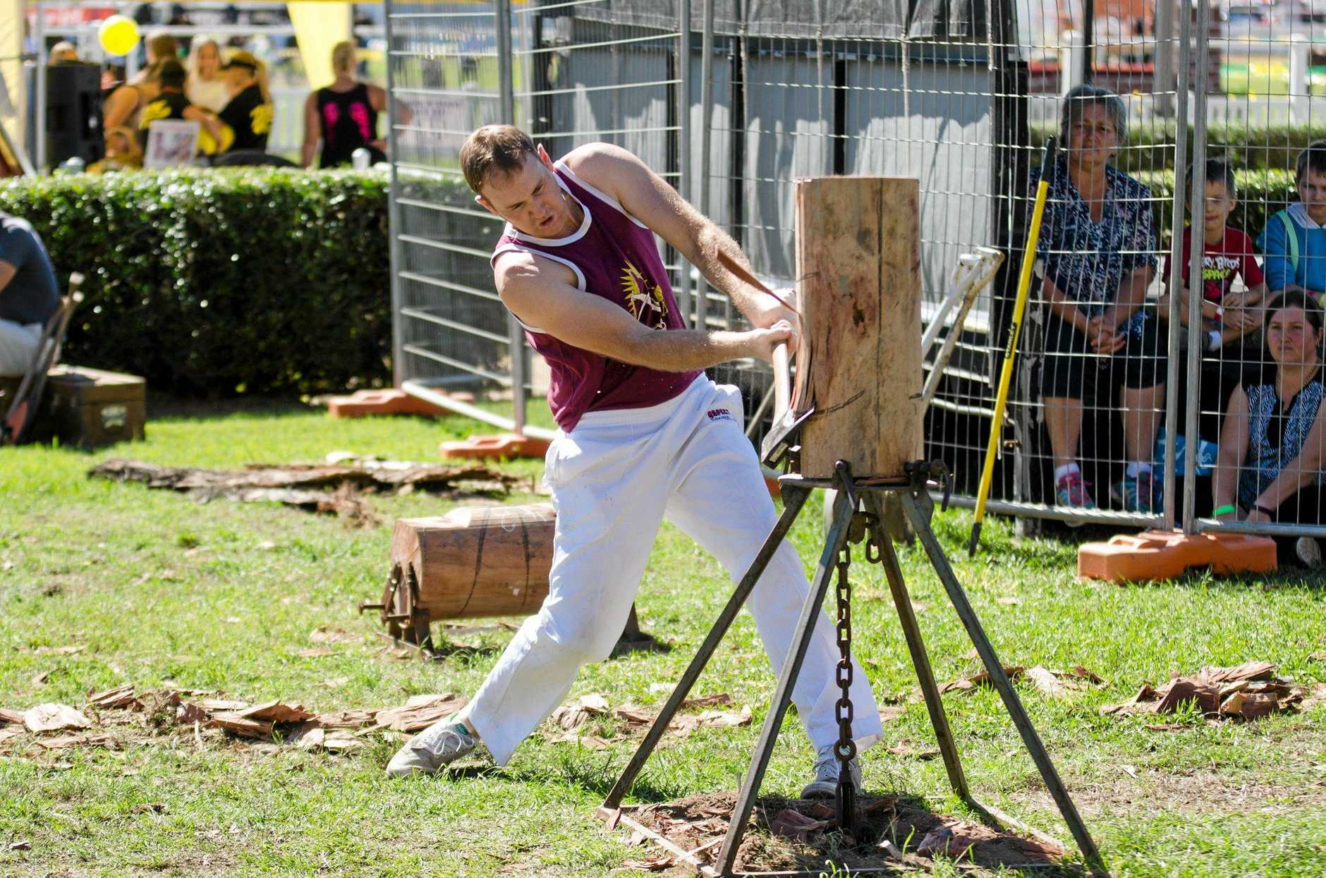 CHOP CHOP: Blake Draper cuts loose at the 2016 Gympie Show wood chop events.