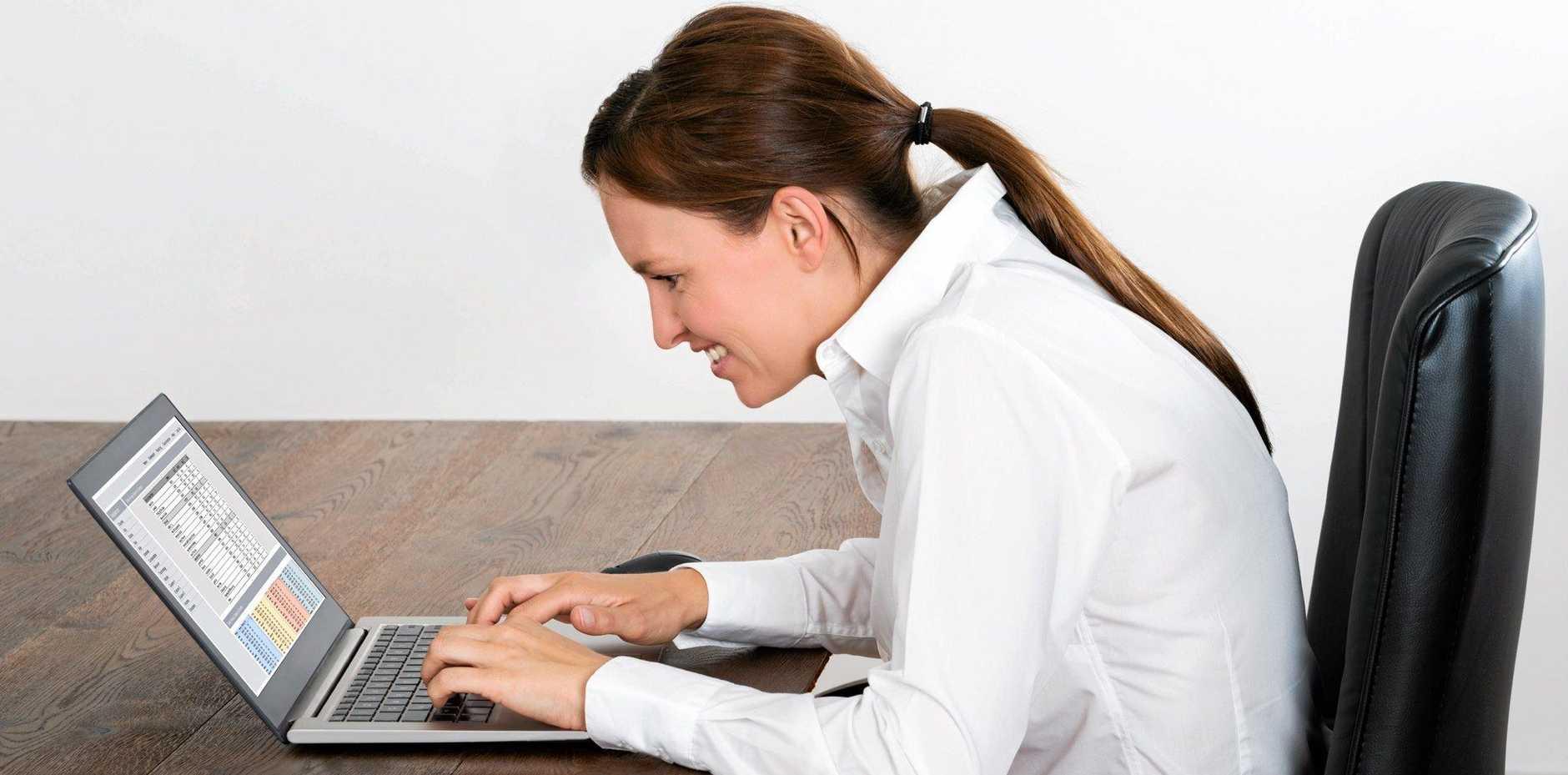 Happy Businesswoman Working On Laptop
