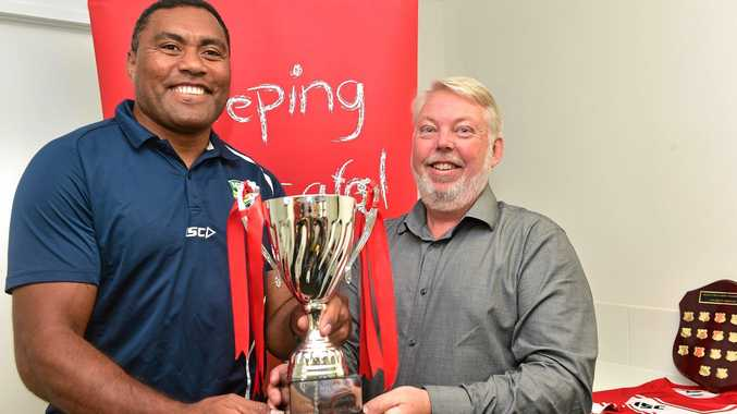 Former NRL great Petero Civoniceva has been named an Ambassador for The Daniel Morcombe Cup. (from left) Petero Civoniceva and Bruce Morcombe.