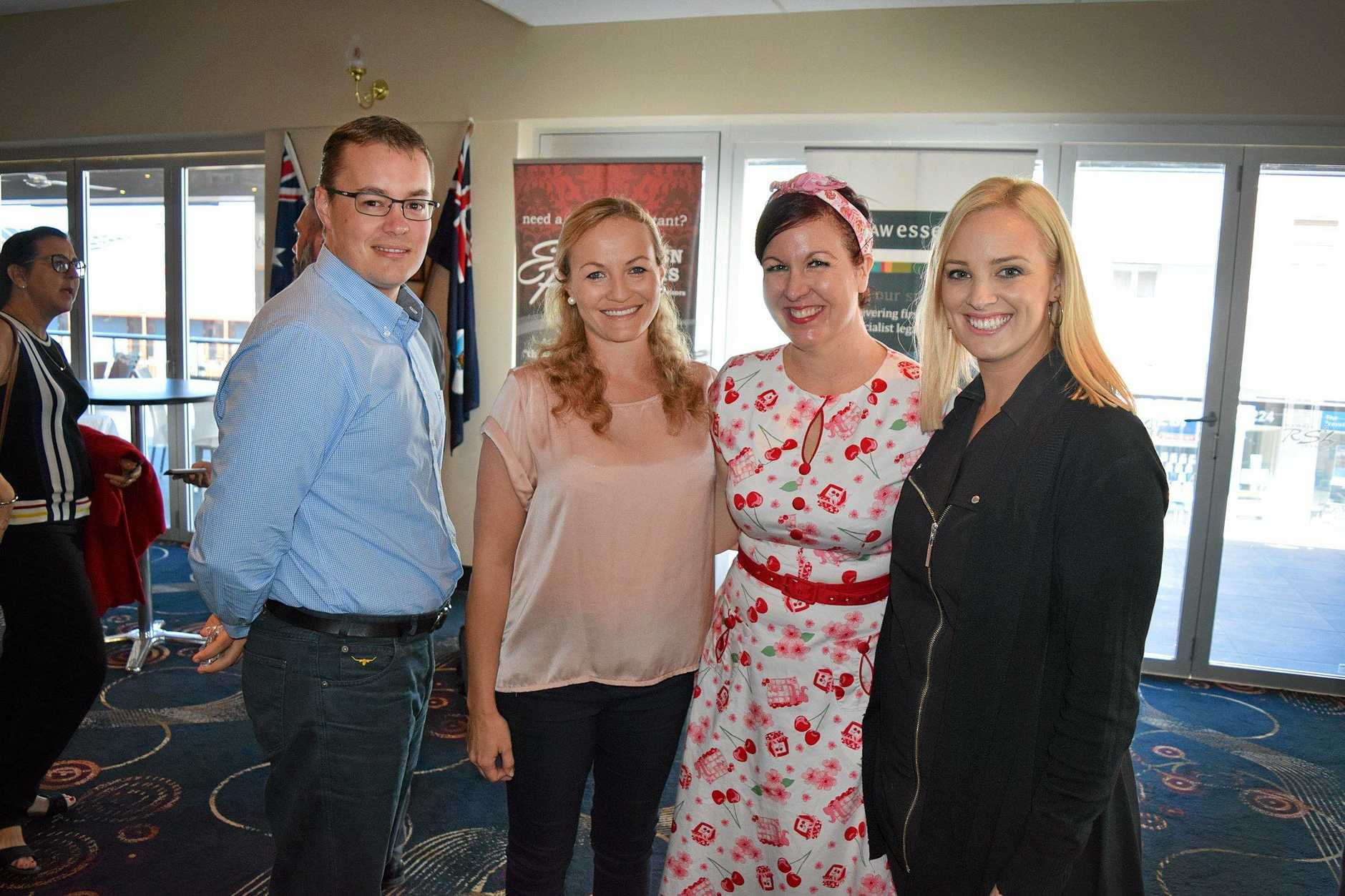 Ben Ellingsen, Sharlene Tapperet, Jody Allen and Rebekkah Rodriguez at the Commerce breakfast in Gympie.