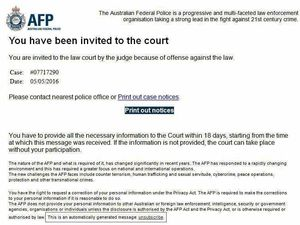 Police warn of AFP scam email