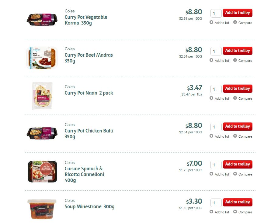 Coles is expanding its current takeaway 'ready-made' food range.