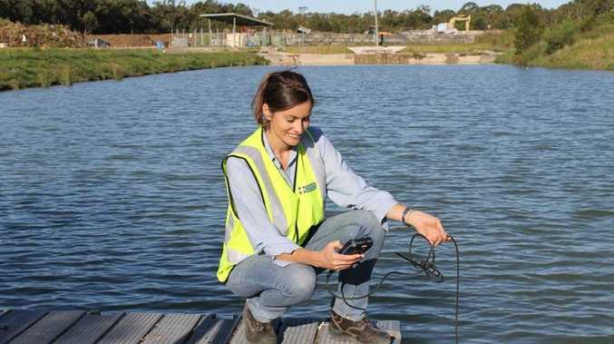 Noosa Council Environment Officer Cherie O'Sullivan testing water quality.