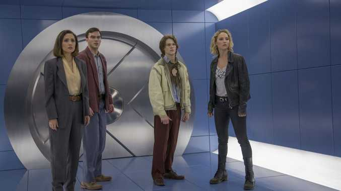 Rose Byrne, Nicholas Hoult, Ben Hardy and Jennifer Lawrence in a scene from the movie X-Men: Apocalypse.