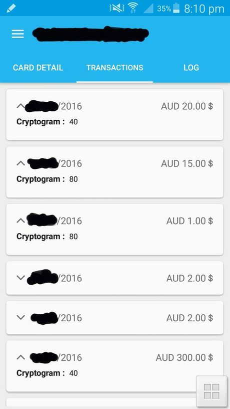 A transaction history stolen by a phone app. Photo Contributed