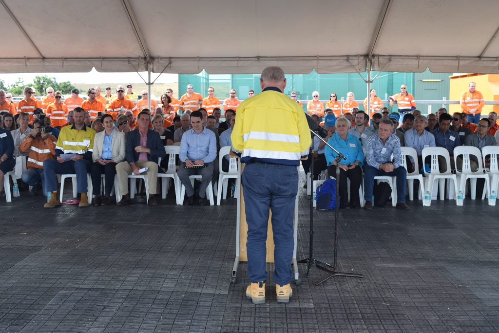 Stanmore Coal's chairman Neville Sneddon opens the ceremony. Photo: Emily Smith