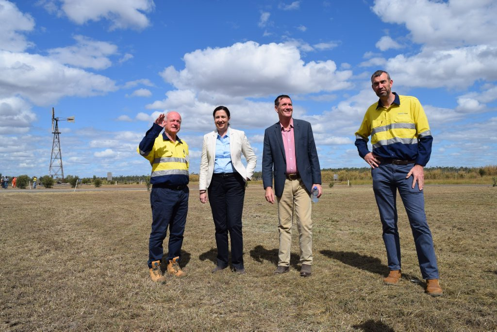 Stanmore Coal's chairman Neville Sneddon, Premier Annastacia Palaszczuk, Mines Minister Dr Anthony Lynham and Stanmore Coal's managing director Nick Jorss. Photo: Emily Smith