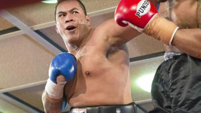 ON THE ATTACK: Herman Ene-Purcell fights Moses Havea at TGW and Smithy Bring the Big Fights 13 at Rumours International last Friday.