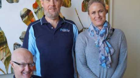 Toowoomba prostate cancer support members Doug Meiklejohn and Ian Grieve, with Toowoomba Hospital Foundation CEO Alison Kennedy.