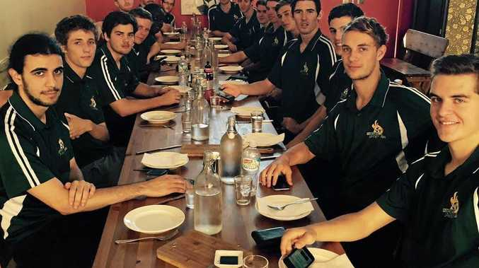 Western Pride footballers enjoy a lunch together before playing New Zealand in Ipswich that night.