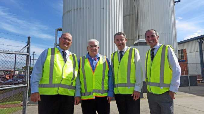 Official opening of new butter factory in Casino by Richmond Dairies. Mayor Ernie Bennett, Richmond Dairies managing director Chris Sharpe, Page MP Kevin Hogan and Clarence MP Chris Gulaptis.