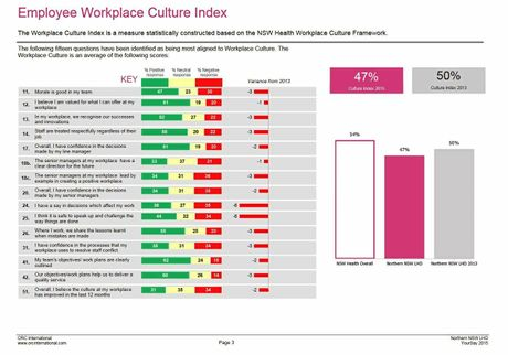 Statistics from the 2015 YourSay Workplace Culture Survey
