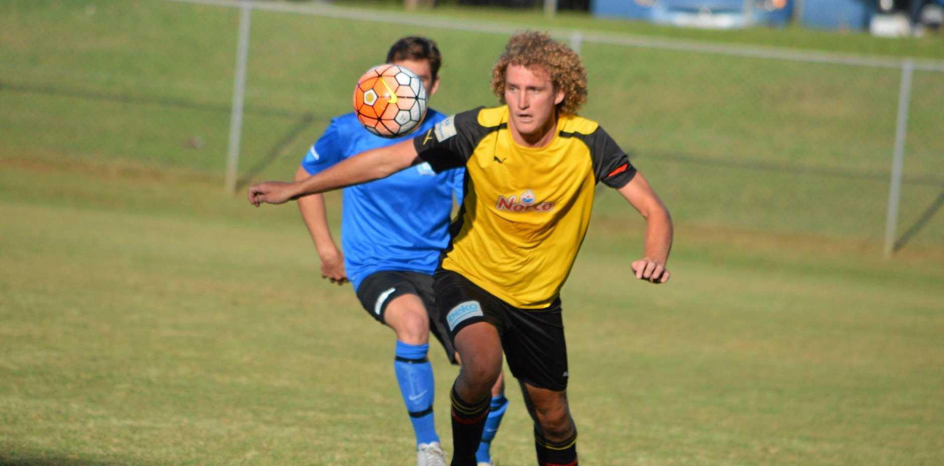 Goonellabah midfielder Kurt Stephens, who was in good form against Bangalow last Saturday as the Hornets came away with a 2-1 win. PHOTO: STEVE MACKNEY